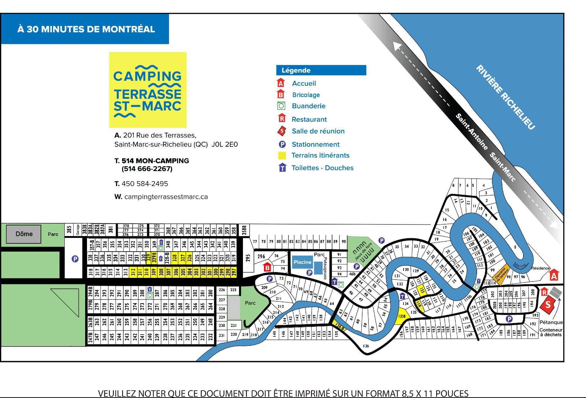 Plan du terrain camping terrasse st marc for Plan terrain